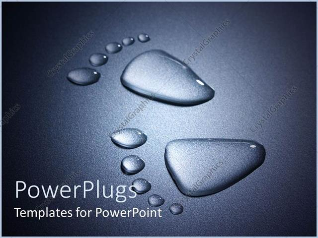 PowerPoint Template Displaying Footprints Made of Water on Black Illuminated Background