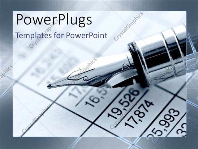 Powerpoint Template Fountain Pen Calculating Finance