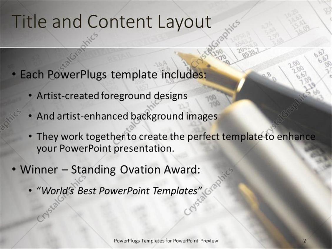 Powerpoint template fountain pen lying on a financial newspaper powerpoint products templates secure alramifo Image collections