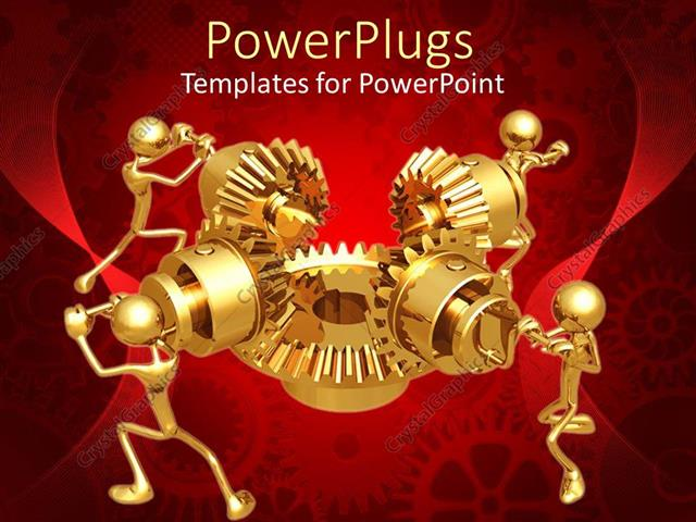 Powerpoint template four 3d golden figures working in team to make powerpoint template displaying four 3d golden figures working in team to make mechanical gear work toneelgroepblik Choice Image