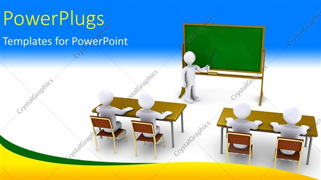 PowerPoint Template: 3D characters of a teacher teaching pupils in a ...