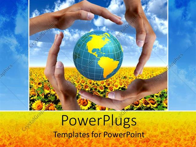 PowerPoint Template Displaying Four Adult Hands Covering an Earth Globe on a Flower Field