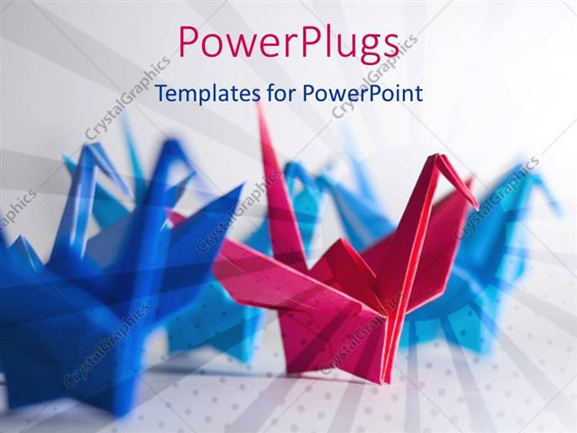 Powerpoint template four blue origami birds and red origami bird powerpoint template displaying four blue origami birds and red origami bird leadership or competition toneelgroepblik Image collections