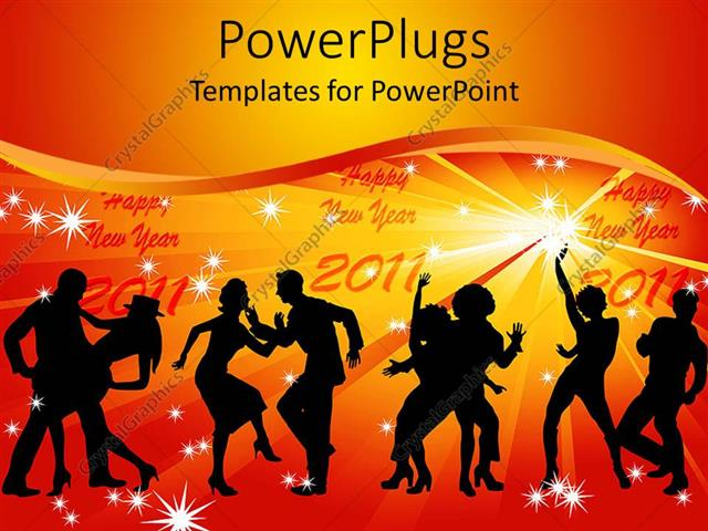 Powerpoint template four couples of silhouettes dancing and happy powerpoint template displaying four couples of silhouettes dancing and happy new year 2011 in light toneelgroepblik Choice Image
