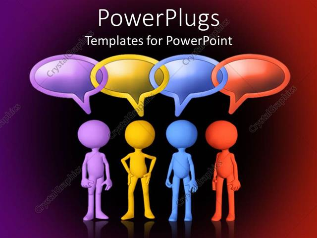 Powerpoint template four figures in different colors with linked powerpoint template displaying four figures in different colors with linked conversation bubbles toneelgroepblik Choice Image