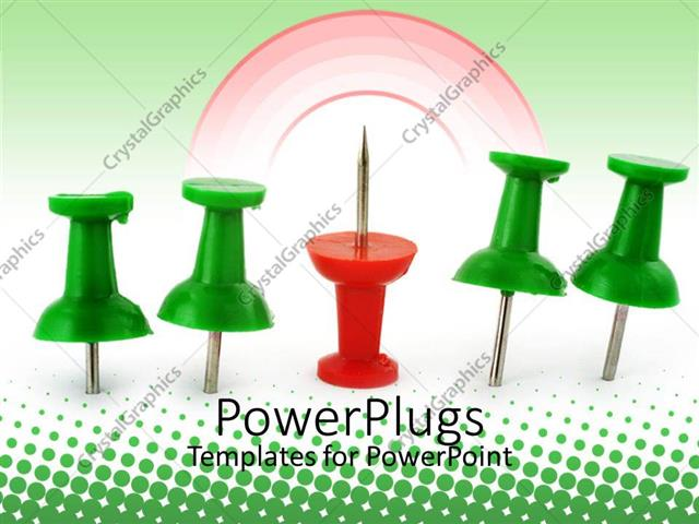 PowerPoint Template Displaying Four Green Pins with a Red Pin Facing Upward