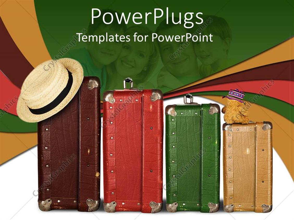 PowerPoint Template Displaying Four Multi Colored Suitcases with a Hat and a Teddy