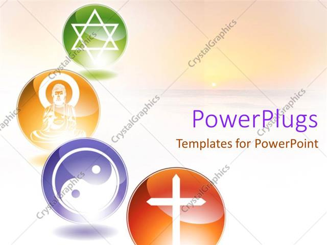 Powerpoint Template Four Multi Coloured Circular Tiles Showing