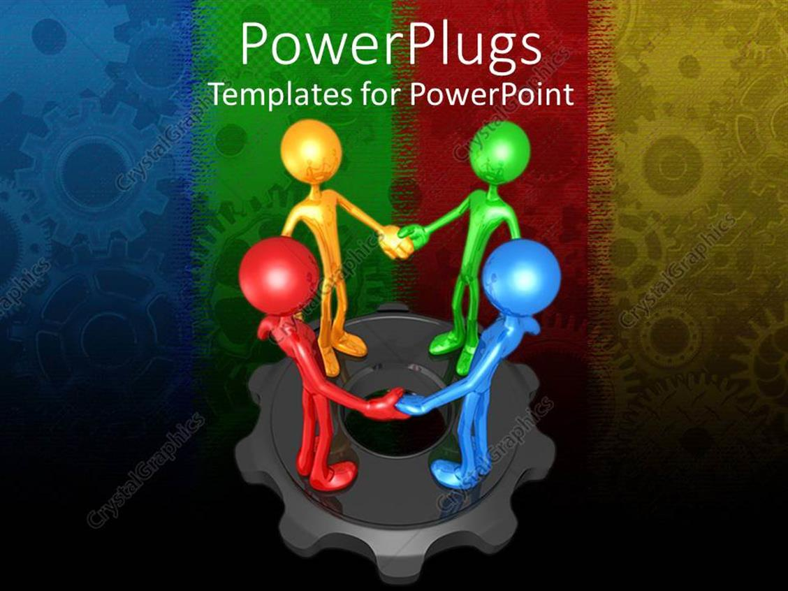 PowerPoint Template Displaying Four Multicolored 3d Human Characters Holding Hands on a Gear