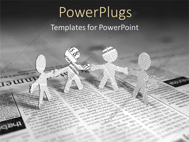 Powerpoint Template Four Paper Men Standing On Page Of Newspaper