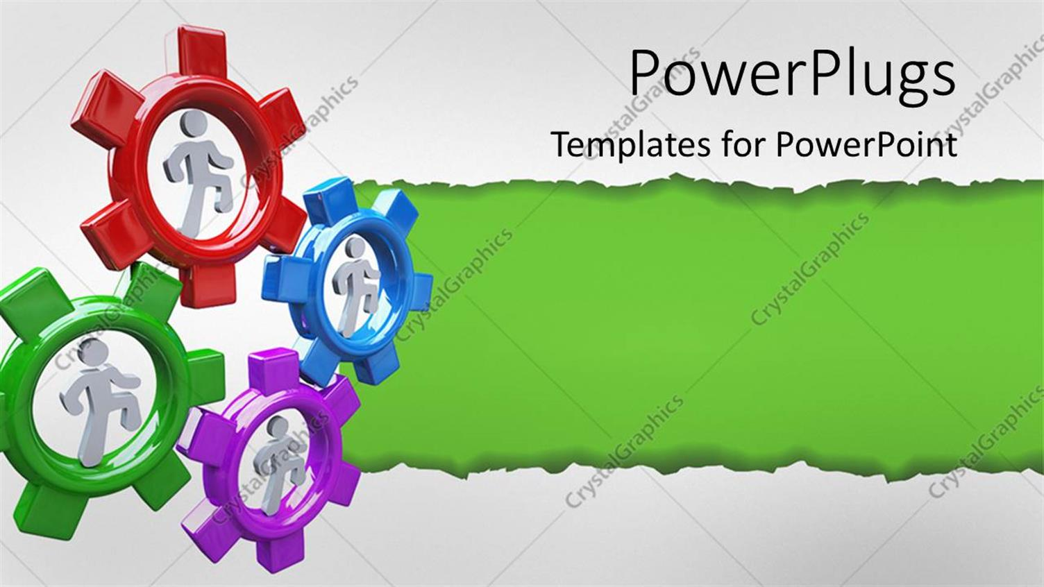 PowerPoint Template Displaying Four People Run in Colorful Gear Wheels to Symbolize Collaboration and Teamwork