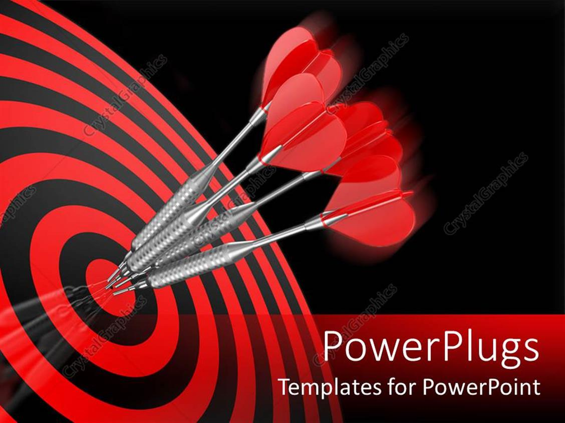 PowerPoint Template Displaying Four Red Darts Hitting the Center Target of a Red Dart Board