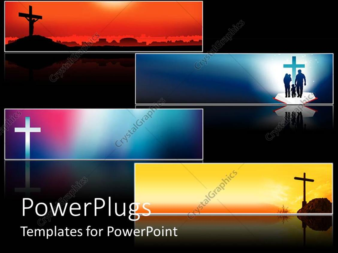 PowerPoint Template Displaying Four Religious Cross Banners with Various Backgrounds