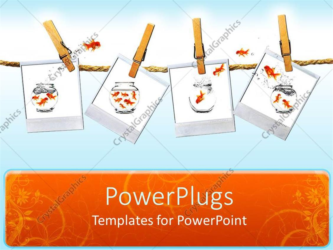 PowerPoint Template Displaying Four Tiles Clipped on a Rope with Gold Fishes Jumping