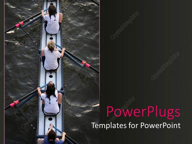 PowerPoint Template Displaying Four Women In A Canoe With Paddles On Water Womens Rowing Team