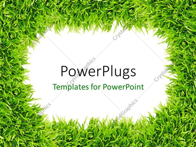 PowerPoint Template Displaying Frame Surrounded with Green Grass Depicting Nature
