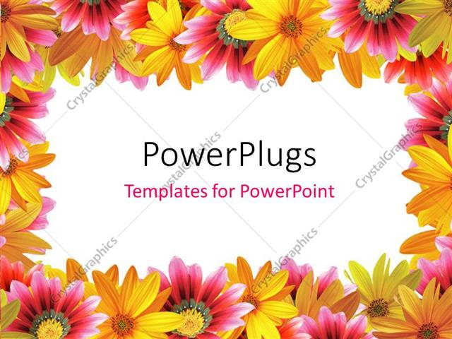 PowerPoint Template: frame of yellow and pink color flowers with ...