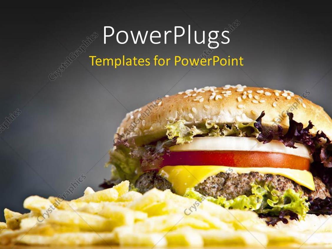 Powerpoint Template French Fries And Delicious Hamburger With Onion