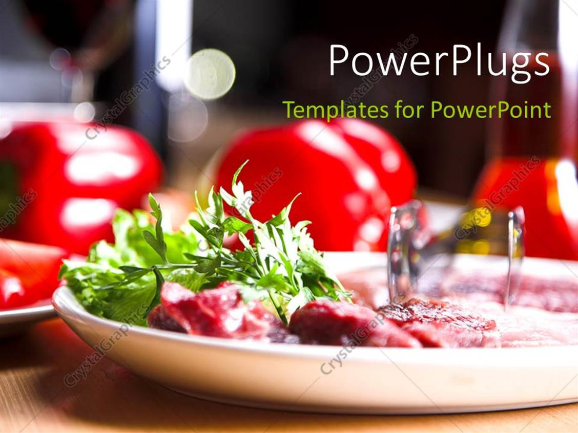 Powerpoint Template Fresh And Healthy Food In Plate Over Restaurant