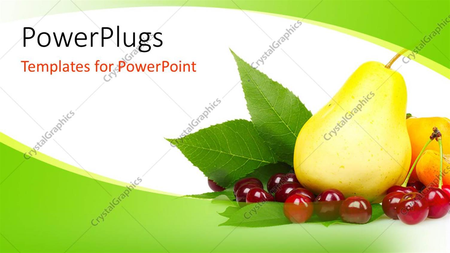 PowerPoint Template Displaying Fresh and Healthy Fruits on Green and White Background