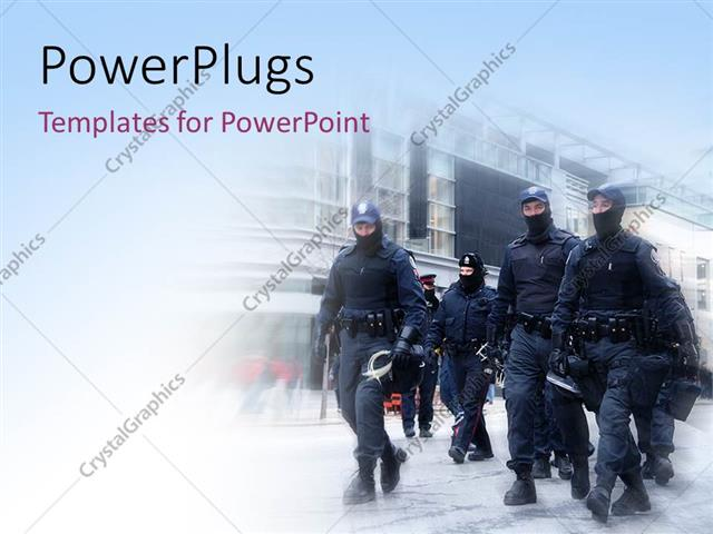 Powerpoint template full kitted riot police moving on street to powerpoint template displaying full kitted riot police moving on street to control riot toneelgroepblik Image collections
