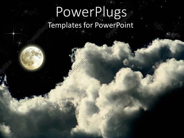 Powerpoint Template Full Moon On A Cloudy Star Lit Night 20746