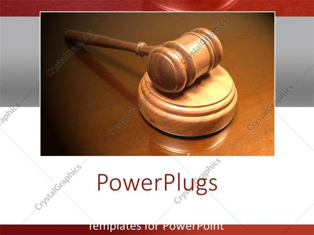 PowerPoint Template Displaying the Gavel with Brown Background and the Reflection on the Table