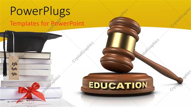 Powerpoint template graduation cap on pile of books with hammer powerpoint template displaying graduation cap on pile of books with hammer and gavel in white background toneelgroepblik Gallery