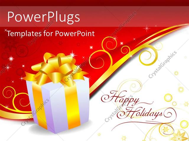 PowerPoint Template Displaying Gift Box with Bright Yellow Ribbon Over Red and White Background