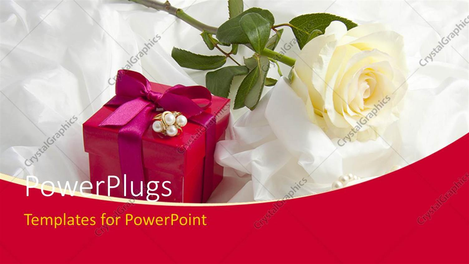PowerPoint Template Displaying Ear Rings on Gift Box with Rose on White Satin
