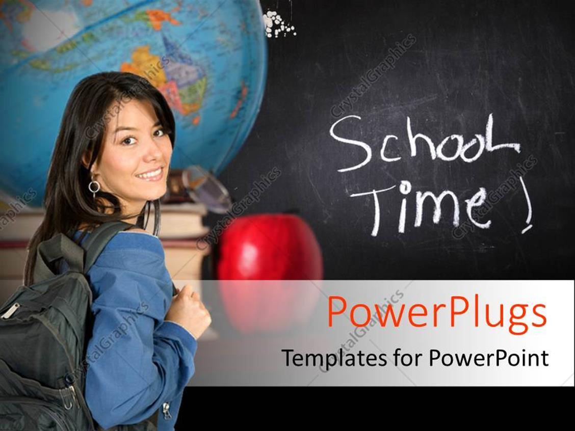 PowerPoint Template Displaying a Girl with a Blackboard in the Background and a Globe