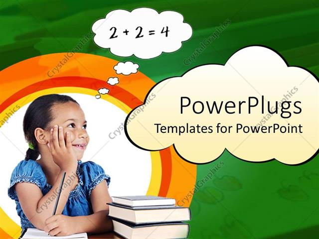 Powerpoint template girl holding pencil on paper with stack of powerpoint template displaying girl holding pencil on paper with stack of books next to her and thinking publicscrutiny Images