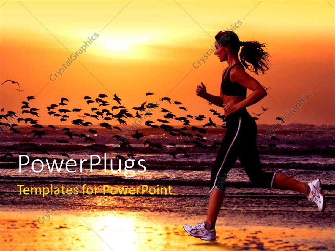 PowerPoint Template Displaying a Girl Running on the Beach with Sea in the Background