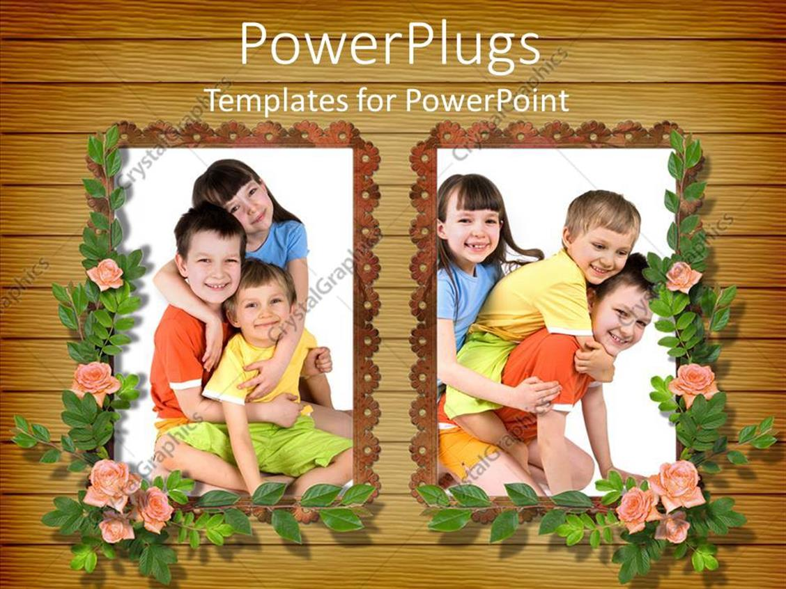 PowerPoint Template Displaying Girl and Two Boy Children Posing in Frames with Flowers, Kids, Family