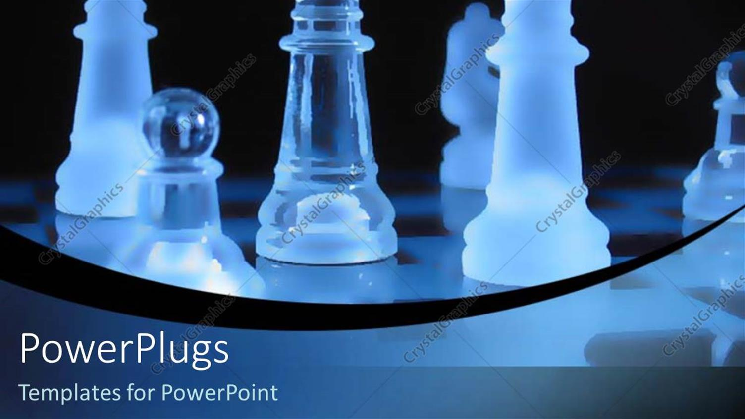 PowerPoint Template Displaying Glass Chess Pieces with Blue Lighting Over a Black Background