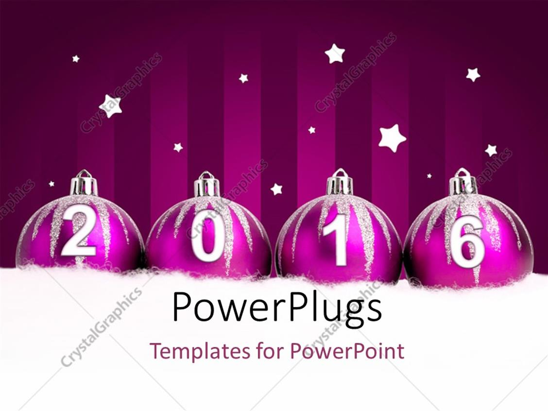 PowerPoint Template Displaying Glittering Purple Christmas Balls on Dark Background with Stars in Background