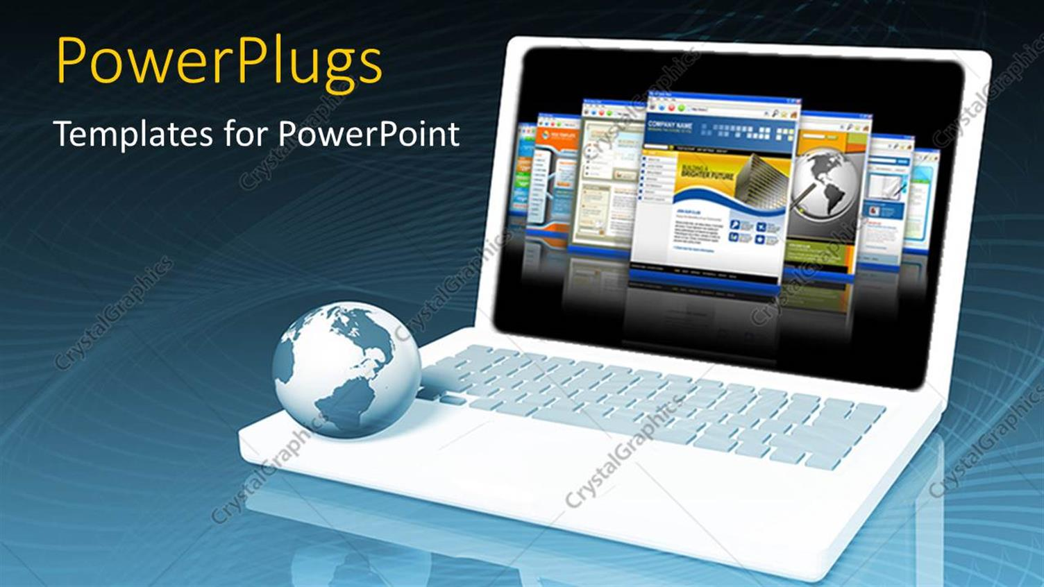 PowerPoint Template Displaying a Laptop with a Globe and Bluish Background