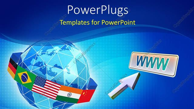 PowerPoint Template Displaying Global Network Depiction with Flag of Countries Around Globe and Mouse Pointer