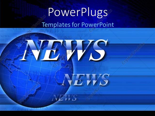 Powerpoint Template Global Network Depiction With Text News On Blue
