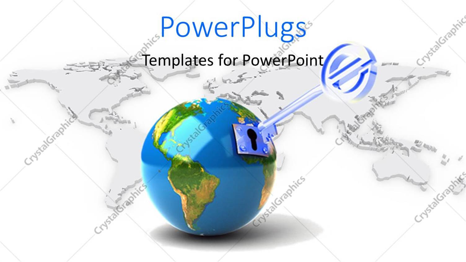 PowerPoint Template Displaying a Globe with a Key and Map in the Background