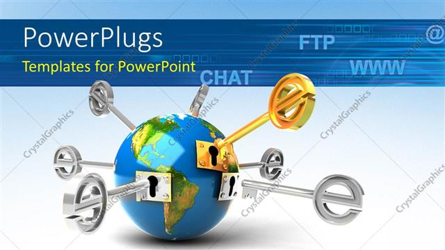 PowerPoint Template Displaying Global Network with Internet Symbols like @, Chat, FTP, Www