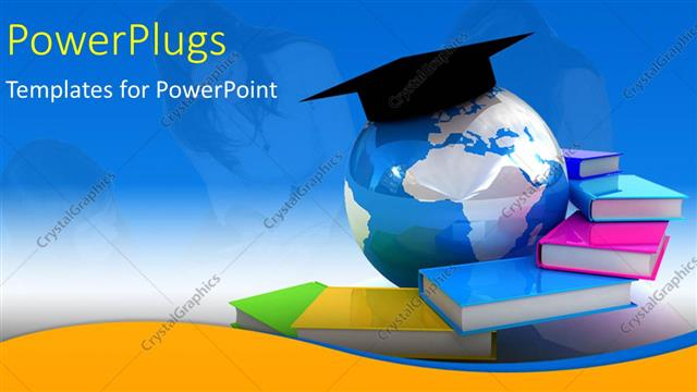 Powerpoint template globe books with students in background powerpoint template displaying globe books with students in background depicting global education toneelgroepblik Choice Image