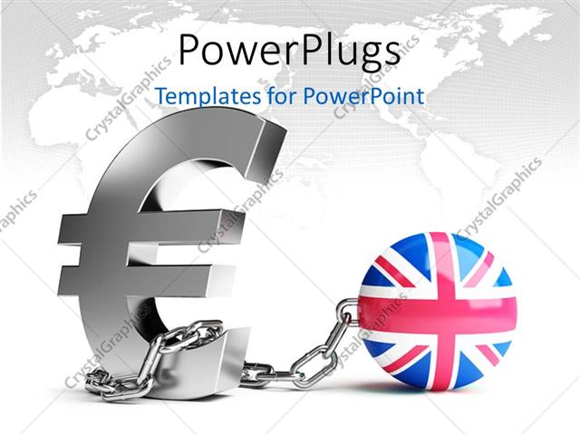 Powerpoint Template A Globe With British Flag And The Sign Of Pound