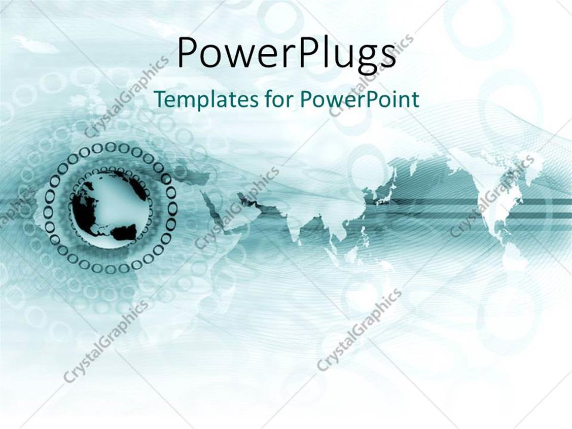 PowerPoint Template Displaying a Globe with some Circles Round it on a Map Background