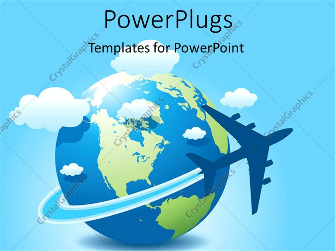 PowerPoint Template Displaying a Globe with Clouds and Bluish Background