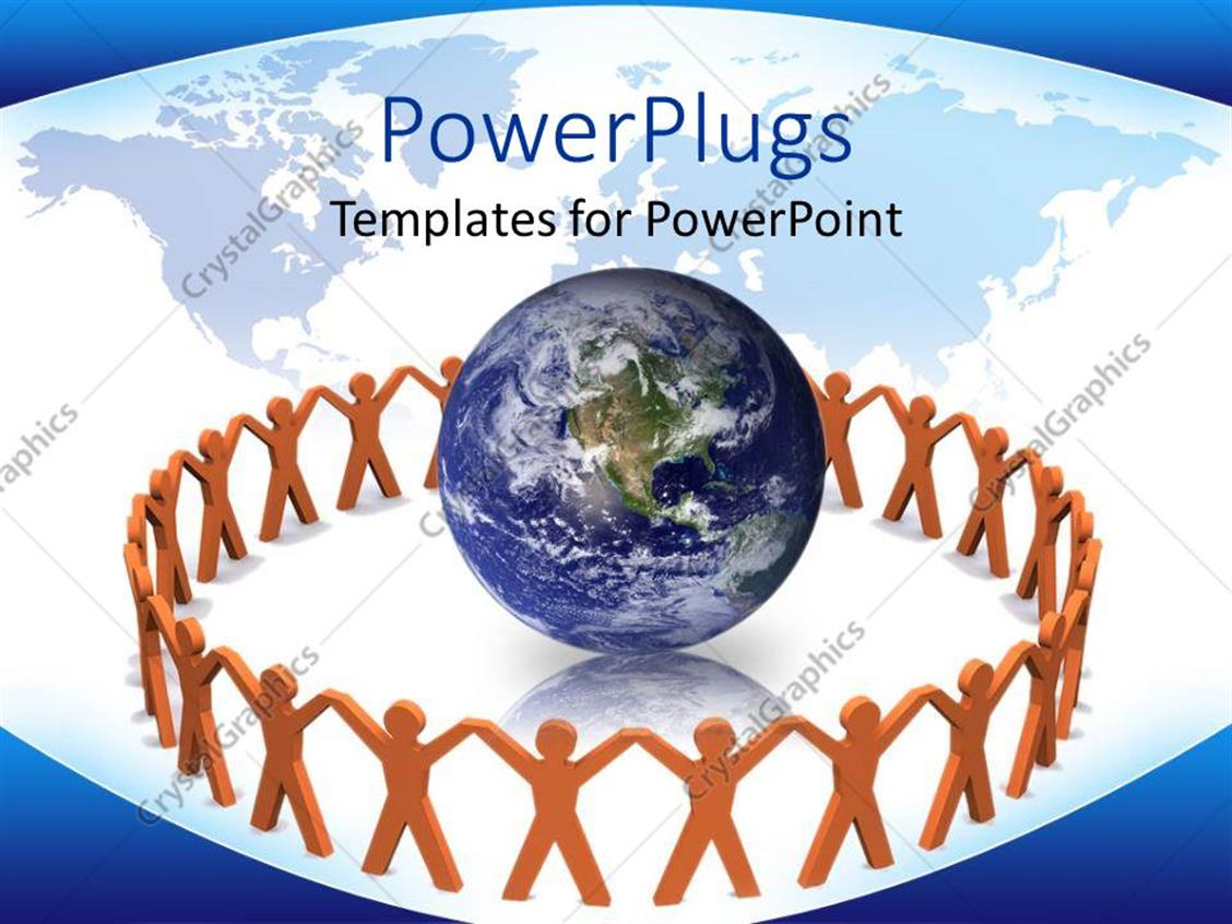 PowerPoint Template Displaying a Globe with a Number of People Surrounding it