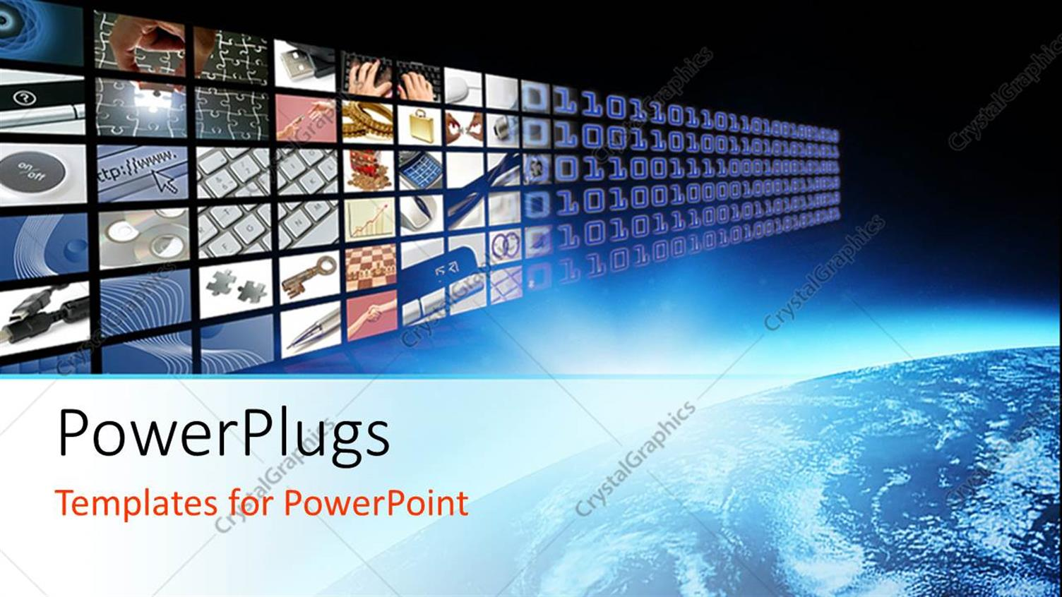 PowerPoint Template Displaying Glow on Planet Earth and Media Visual Panel Screen