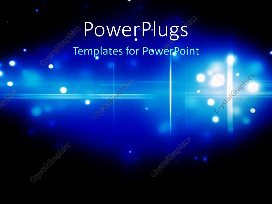 PowerPoint Template Displaying Glowing Abstract Particles in Blue with Black Color