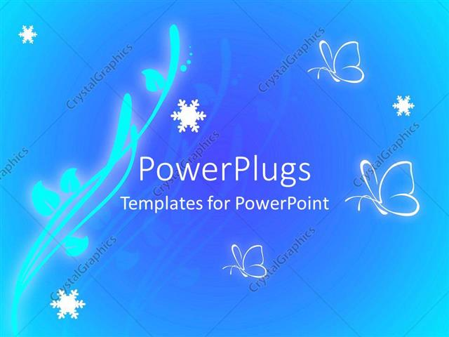 Powerpoint Template Glowing Branch With Leaves And Butterflies