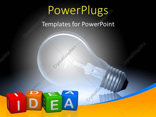 PowerPoint Template Displaying Glowing Bulb Depicting Innovation with Idea Keyword Printed on Multi Color Dices